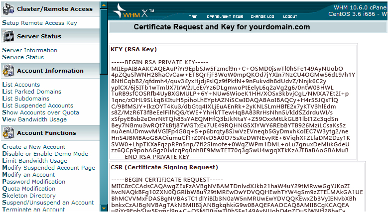 Certificate Signing Request Key