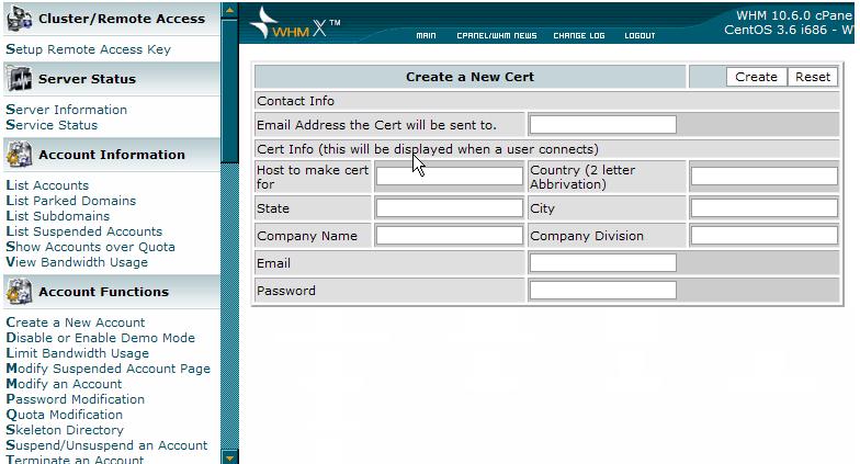 create a new certificate