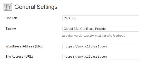 WordPress SSL Settings