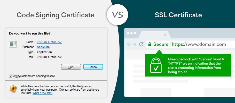 code signing certificate vs ssl certificate