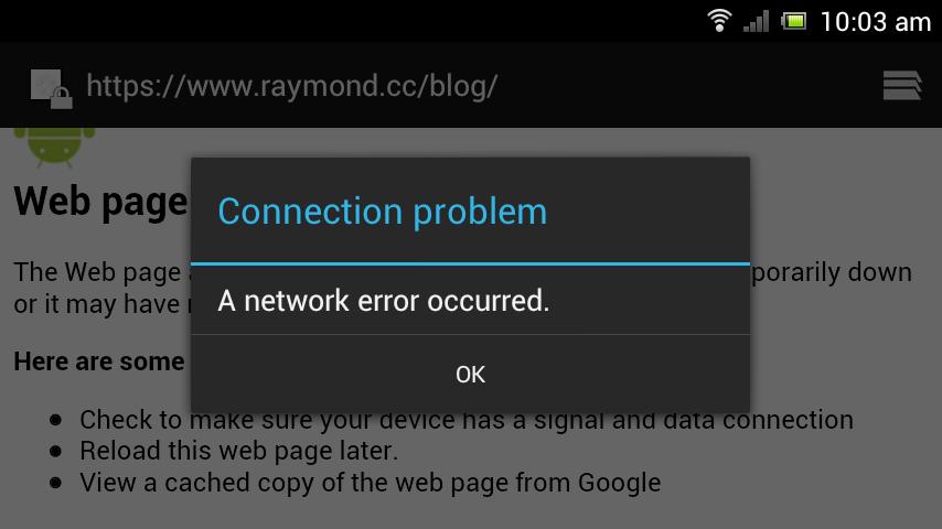 a network error occurred