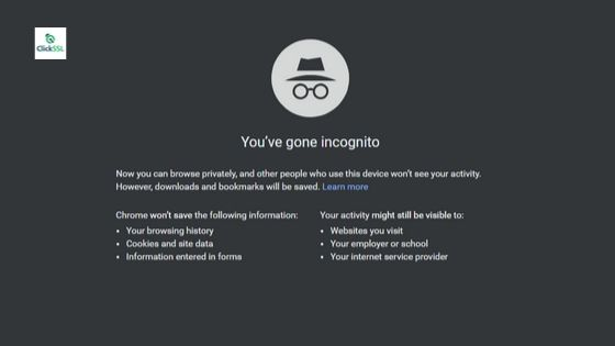 incognito mode on your chrome browser