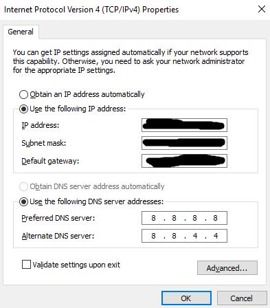 Internet Protocol Version 4 TCP IPv4 properties