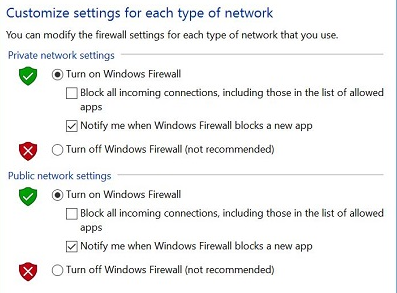customize setting for each type of network