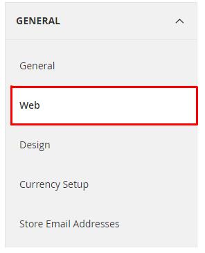 magento web setting