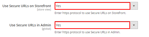 use secure urls in magento