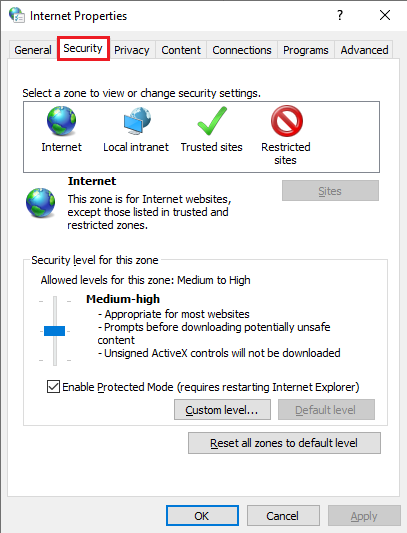 interenet security setting