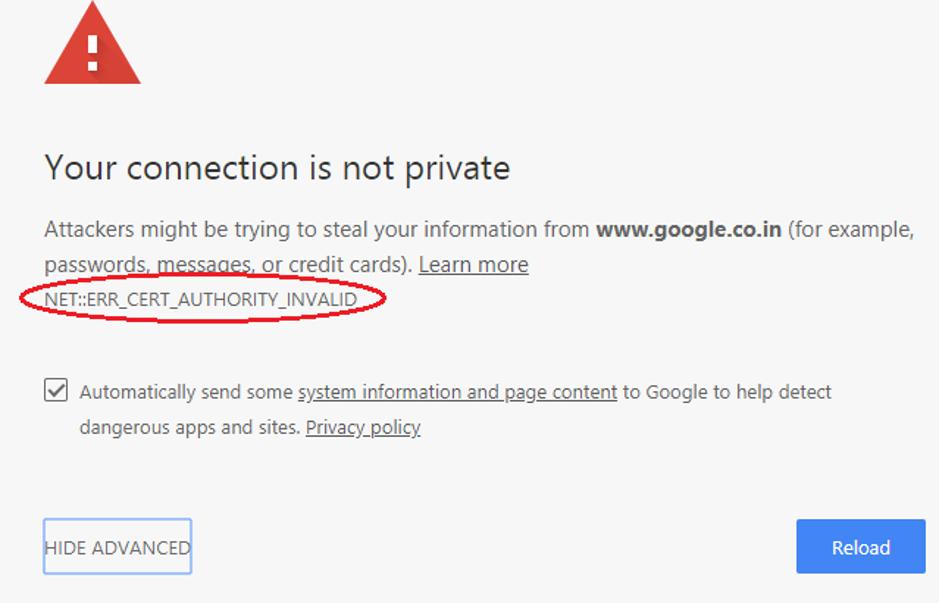 NET ERR_CERT_AUTHORITY_INVALID Error