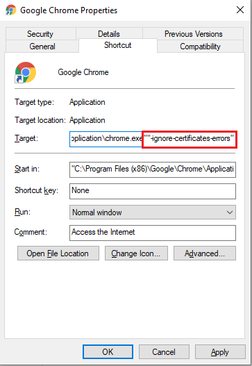 ignore certificates errors in google chrome