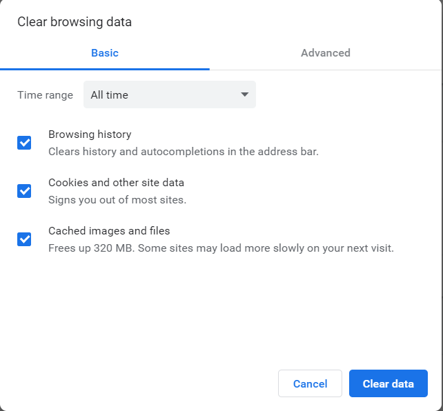 clear browser data box