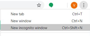 new incognito window