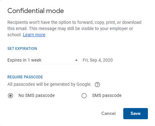 Confidential mode