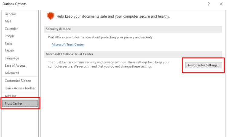 trust center settings