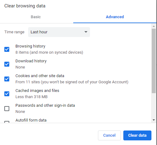 clear browsing data advance option