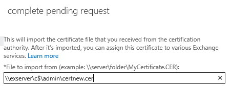 enter the unc path to the certificate
