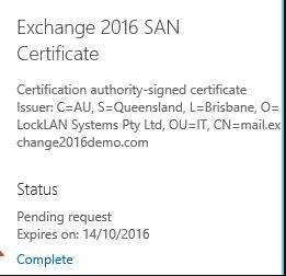 exchange server ssl pending request complete