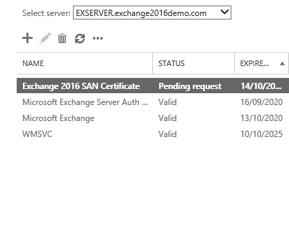 microsoft exchange admin center pending certificate request