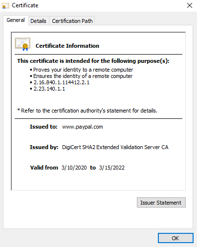 check extended validation ssl certificate