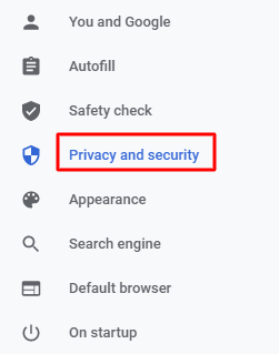 privacy and security setting