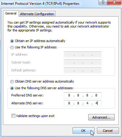 use the following dns server address