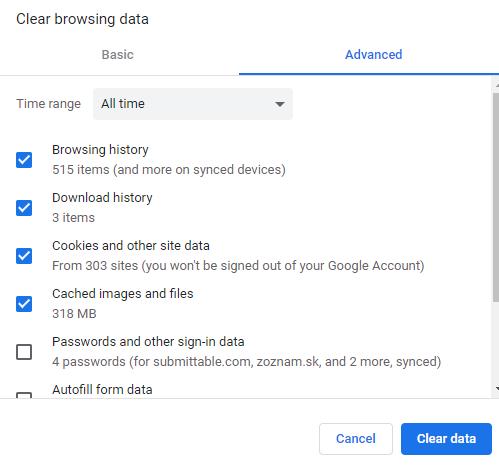 clear data google chrome