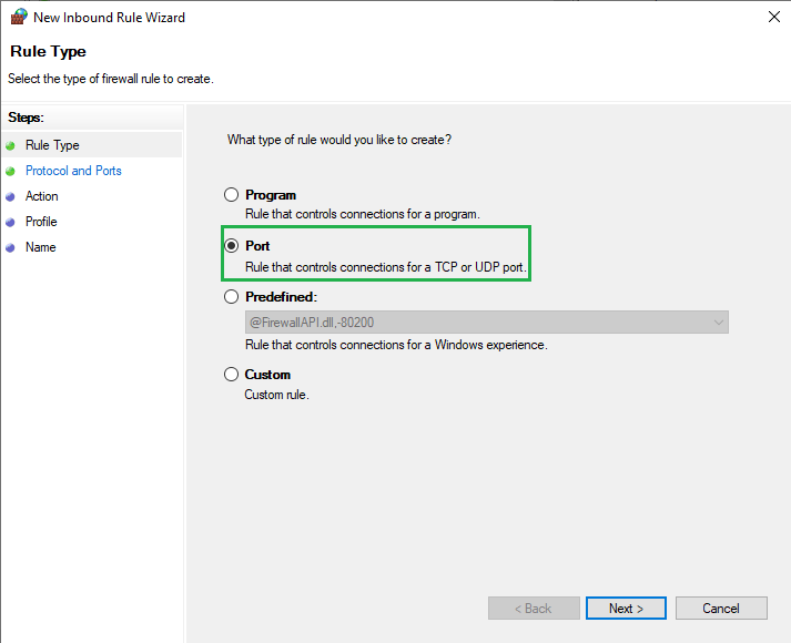 select port in new inbound rule wizard